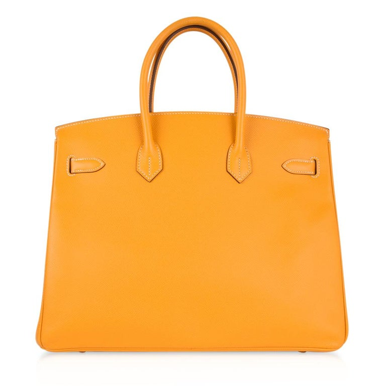 Hermes Birkin 35 Bag Jaune D'Or Yellow Candy Limited Edition Epsom Permabrass   For Sale 5