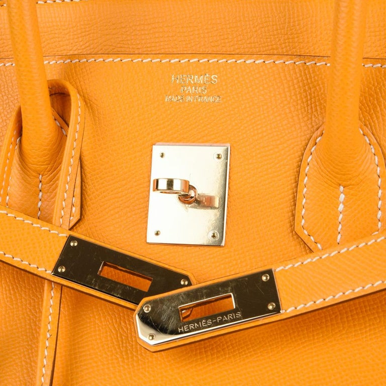 c0128b2659f Orange Hermes Jaune D Or Yellow Candy Limited Edition Epsom Permabrass  Birkin 35 Bag For