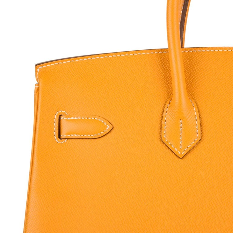 Hermes Birkin 35 Bag Jaune D'Or Yellow Candy Limited Edition Epsom Permabrass   For Sale 6