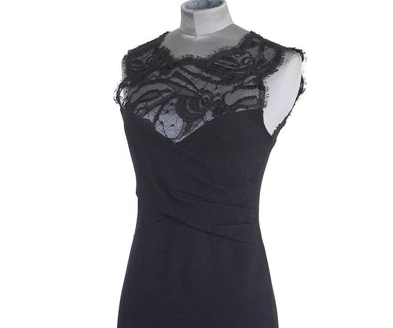 Black Emilio Pucci Lace Neckline Rear Zipper Dress  For Sale