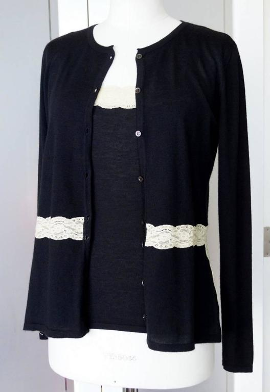 VALENTINO Twin Set Black Ivory Lace Accent Cashmere Silk L 2