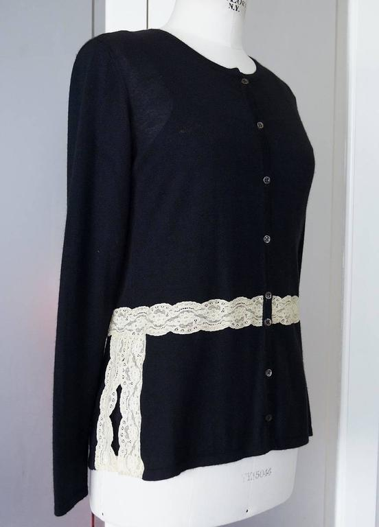 VALENTINO Twin Set Black Ivory Lace Accent Cashmere Silk L 3
