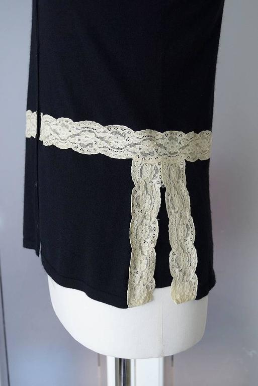 VALENTINO Twin Set Black Ivory Lace Accent Cashmere Silk L 4