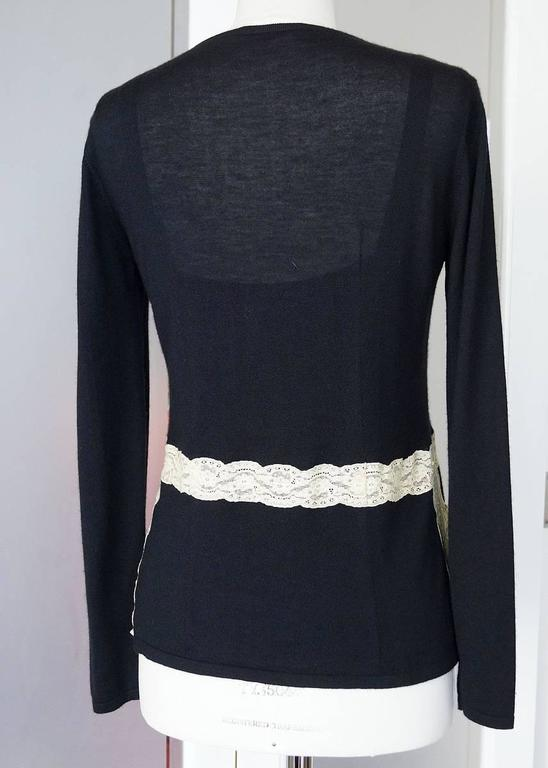 VALENTINO Twin Set Black Ivory Lace Accent Cashmere Silk L 9