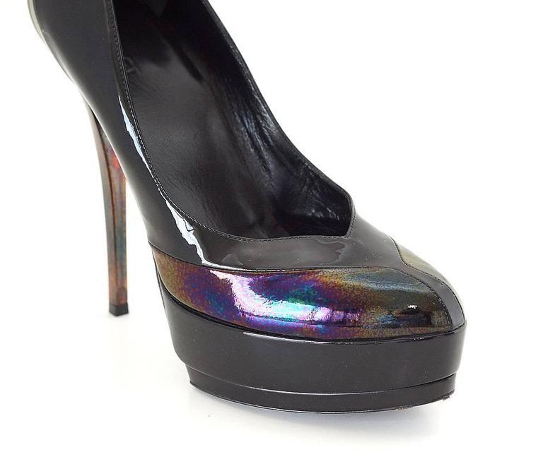 GUCCI Shoe Platform 'Oiled' Patent Detail 38 1/2  8.5 mint 2
