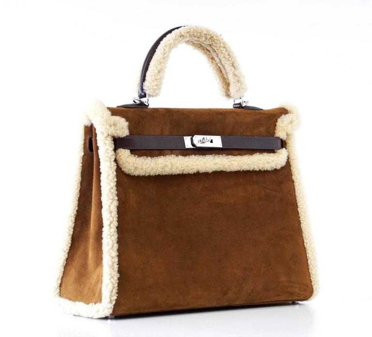 HERMES KELLY 35 Bag Coveted Limited Edition Teddy Shearling Plush mint 2