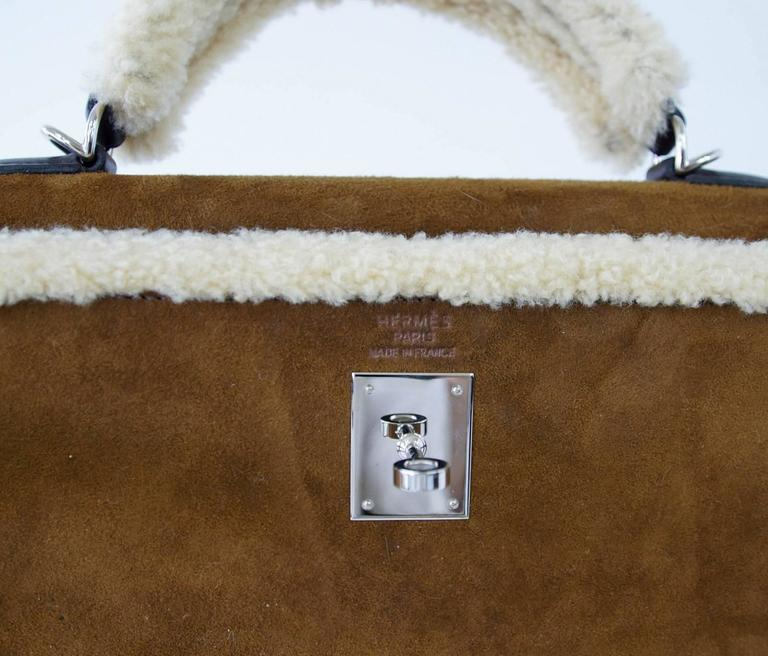 HERMES KELLY 35 Bag Coveted Limited Edition Teddy Shearling Plush mint 5