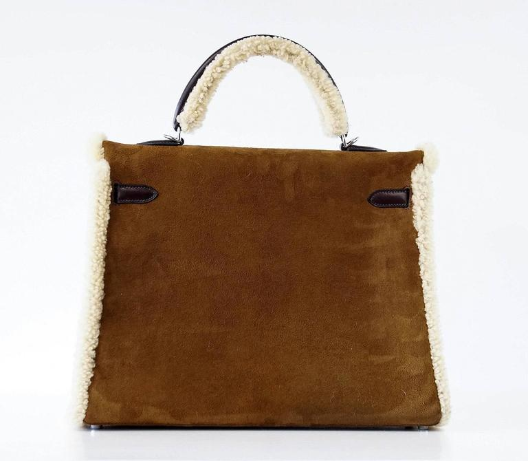 HERMES KELLY 35 Bag Coveted Limited Edition Teddy Shearling Plush mint 6