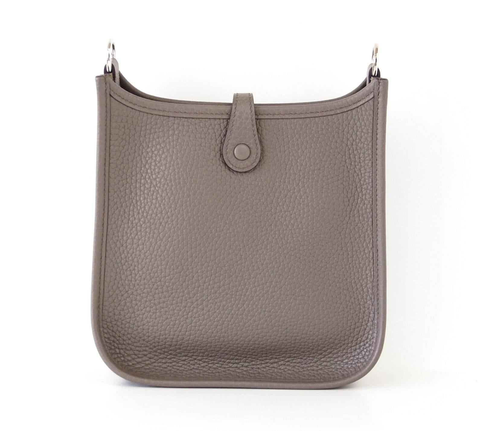 HERMES Bag Evelyne TPM Mini Etain Clemence Cuivre Strap Sold Out Colour at  1stdibs 42301ac5f436f