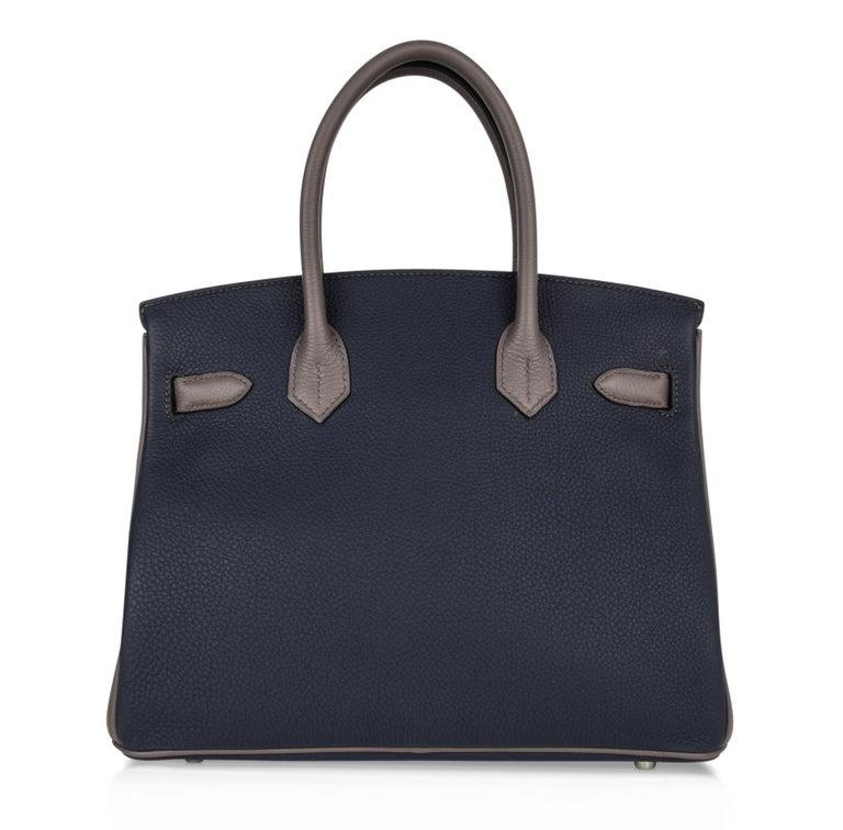 Hermes Birkin HSS 30 Bag Blue Nuit / Etain Togo Brushed Palladium  For Sale 7