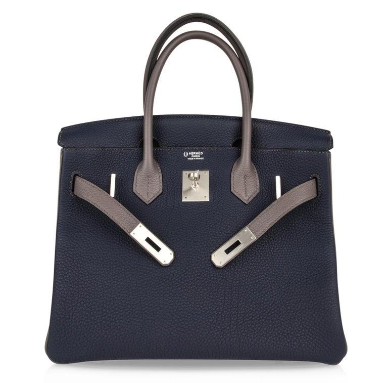 Hermes Birkin HSS 30 Bag Blue Nuit / Etain Togo Brushed Palladium  For Sale 5