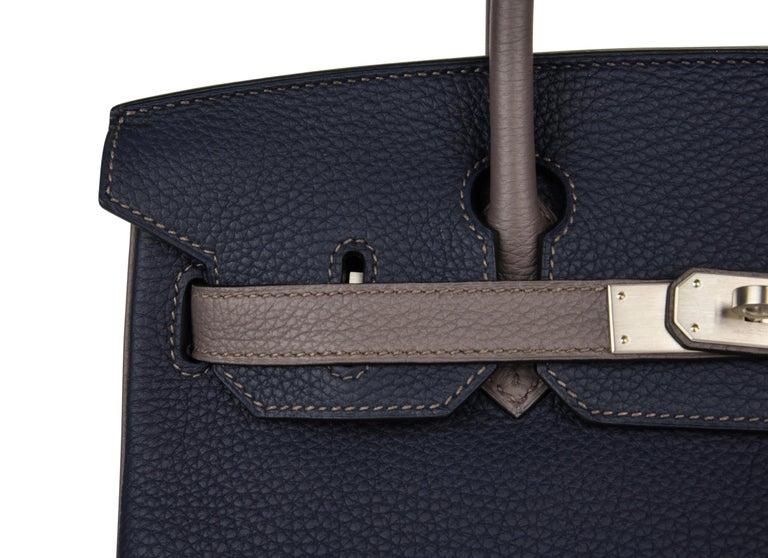 Hermes Birkin HSS 30 Bag Blue Nuit / Etain Togo Brushed Palladium  For Sale 4