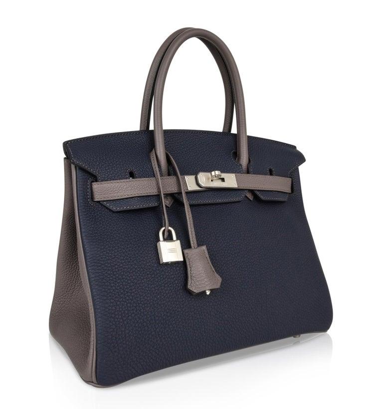 Hermes Birkin HSS 30 Bag Blue Nuit / Etain Togo Brushed Palladium  For Sale 1
