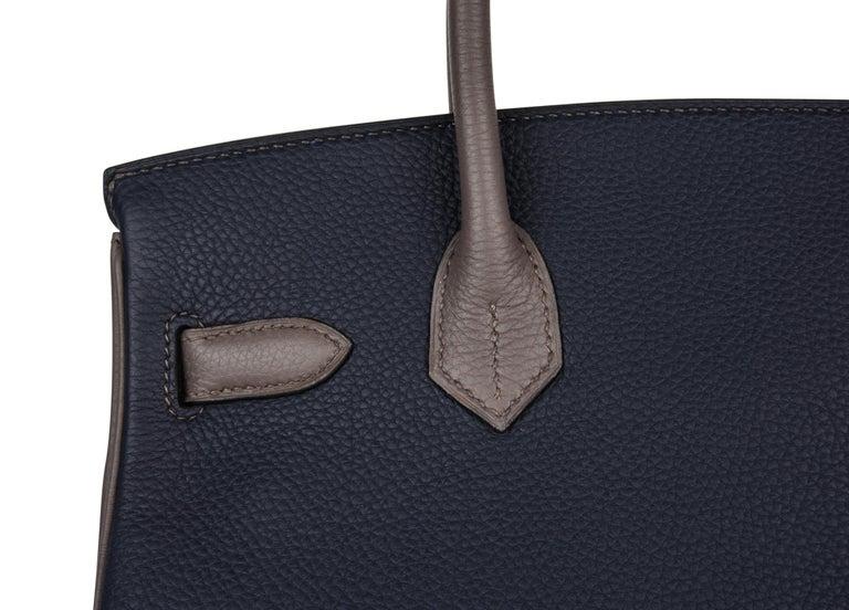 Hermes Birkin HSS 30 Bag Blue Nuit / Etain Togo Brushed Palladium  For Sale 6