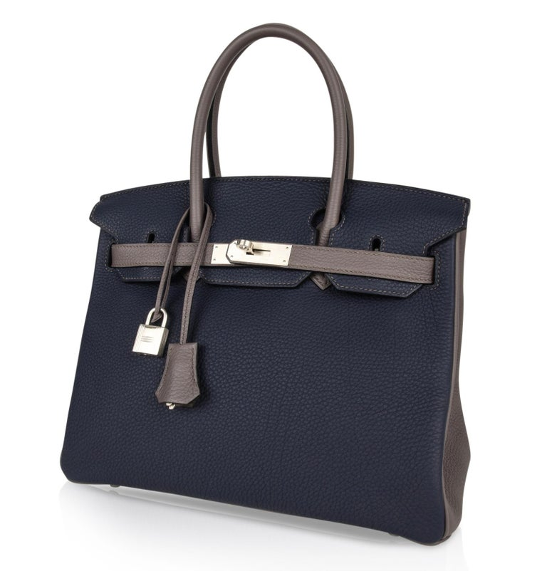 Hermes Birkin HSS 30 Bag Blue Nuit / Etain Togo Brushed Palladium  For Sale 3
