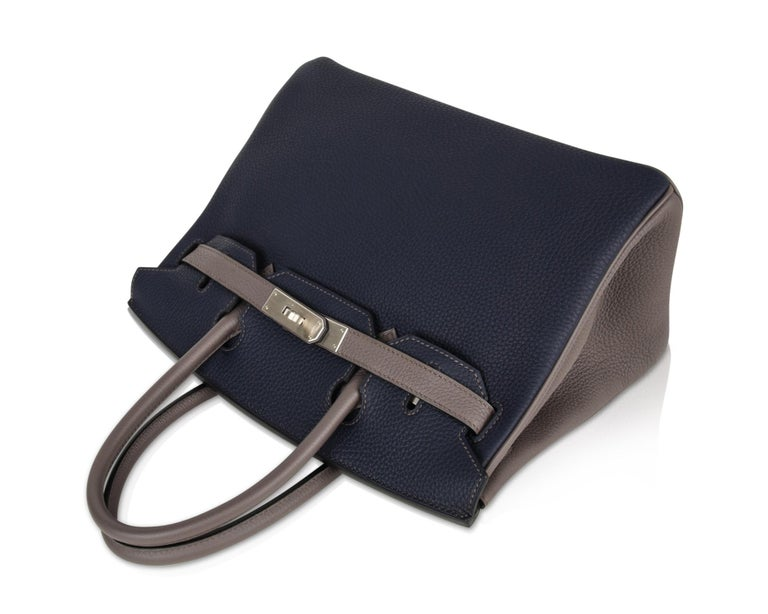 Hermes Birkin HSS 30 Bag Blue Nuit / Etain Togo Brushed Palladium  For Sale 2