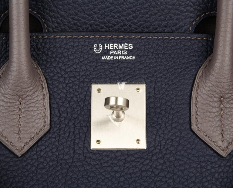 Hermes Birkin HSS 30 Bag Blue Nuit / Etain Togo Brushed Palladium  In New Condition For Sale In Miami, FL