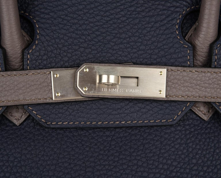 Women's Hermes Birkin HSS 30 Bag Blue Nuit / Etain Togo Brushed Palladium  For Sale
