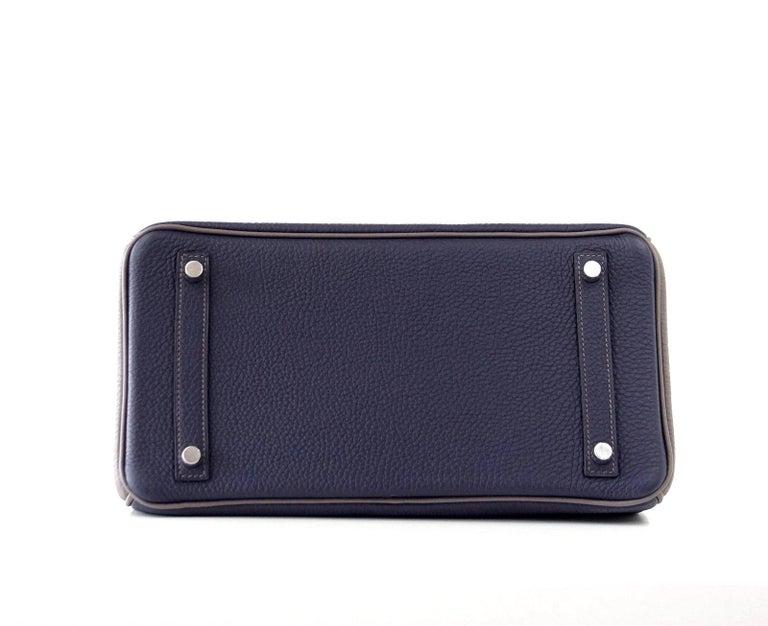 Hermes Birkin HSS 30 Bag Blue Nuit / Etain Togo Brushed Palladium  For Sale 8