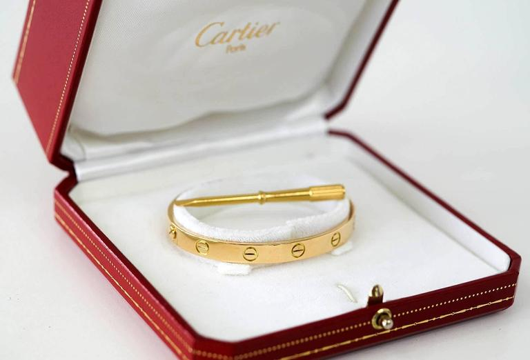 Cartier Love Bracelet Clic 18k Gold Vintage In Excellent Condition For Miami Fl