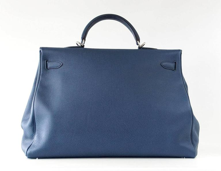 HERMES Kelly Voyage 50 cm Blue de Prusse Togo Palladium Carry On Weekender 4