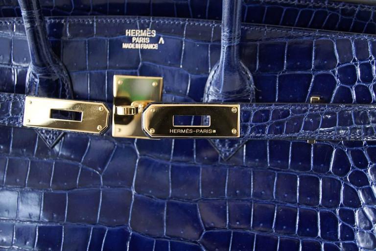 Hermes Birkin 35 Bag Blue Sapphire Porosus Crocodile Gold Hardware  2