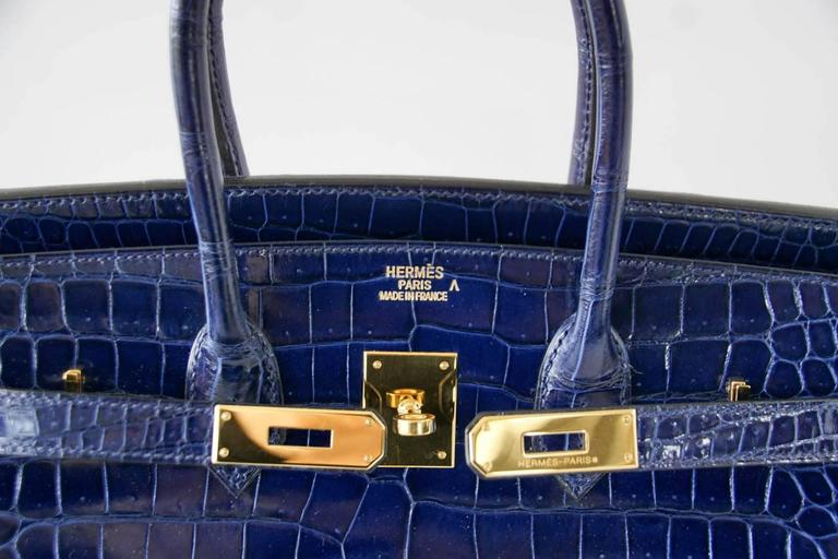 Hermes Birkin 35 Bag Blue Sapphire Porosus Crocodile Gold Hardware  3