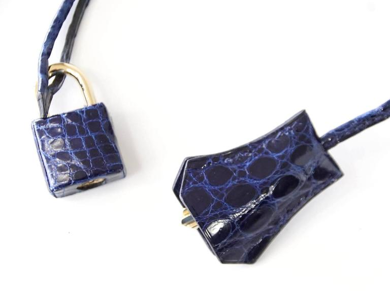 Hermes Birkin 35 Bag Blue Sapphire Porosus Crocodile Gold Hardware  4