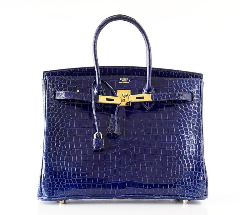 Hermes Birkin 35 Bag Blue Sapphire Porosus Crocodile Gold Hardware  5