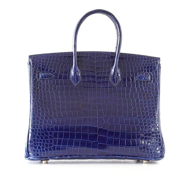 Hermes Birkin 35 Bag Blue Sapphire Porosus Crocodile Gold Hardware  6