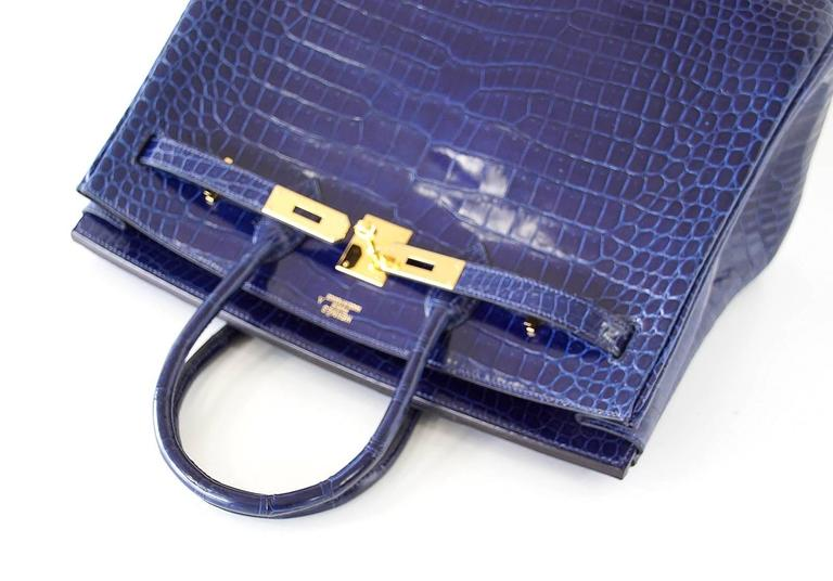Hermes Birkin 35 Bag Blue Sapphire Porosus Crocodile Gold Hardware  7