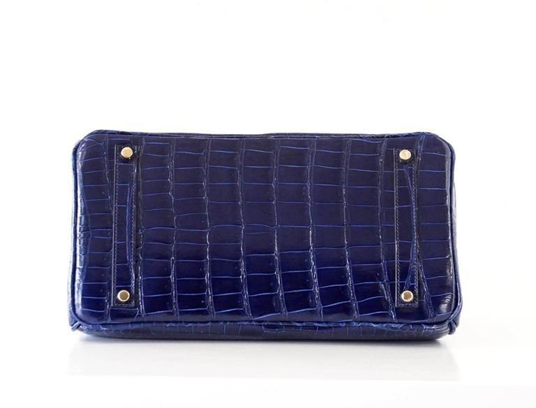 Hermes Birkin 35 Bag Blue Sapphire Porosus Crocodile Gold Hardware  8