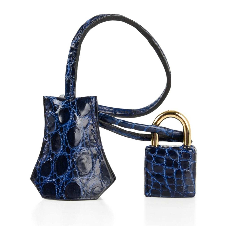 befbb7b089a Hermes Blue Sapphire Porosus Crocodile Gold Hardware Birkin 35 Bag at  1stdibs