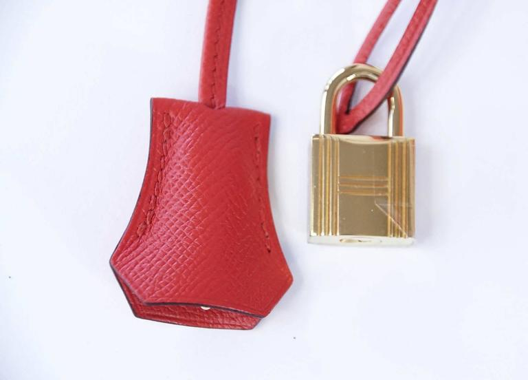 Hermes Birkin 30 Bag Rouge Tomate Epsom Gold Hardware In New never worn Condition For Sale In Miami, FL