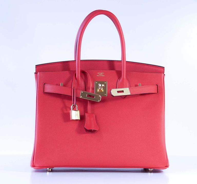 Hermes Birkin 30 Bag Rouge Tomate Epsom Gold Hardware 5