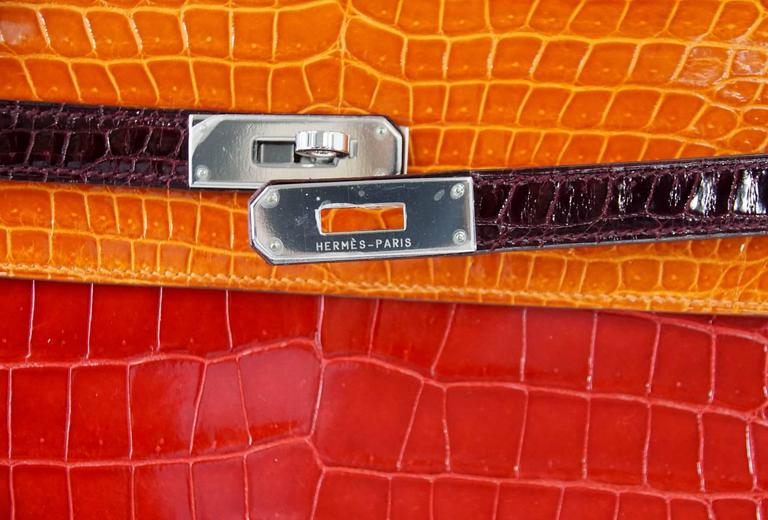 Red HERMES Kelly 35 Bag Tri Color Horseshoe Porosus Crocodile Palladium For Sale