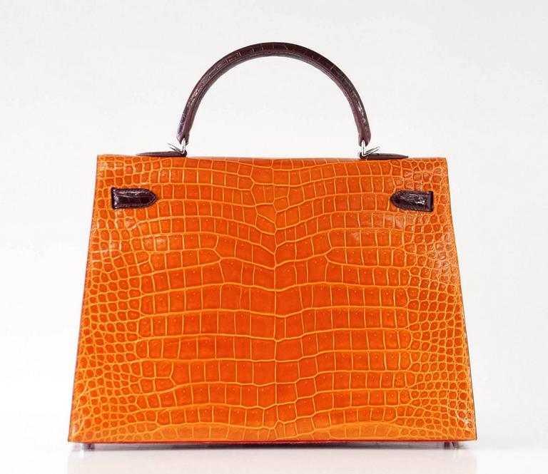 HERMES Kelly 35 Bag Tri Color Horseshoe Porosus Crocodile Palladium For Sale 1