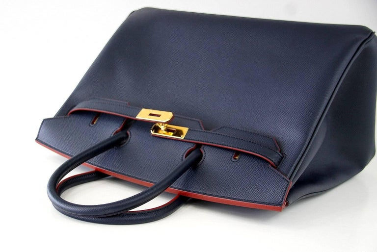 Hermes Birkin 35 Bag Navy Indigo w/ Rouge Contour Limited Edition Epsom Gold  For Sale 6