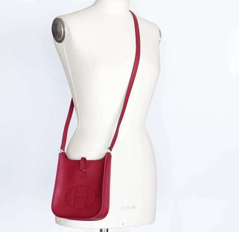 ... sale guaranteed authentic coveted hermes evelyne tpm mini rouge  garrance in epsom. palladium hardware. 1158b69161892