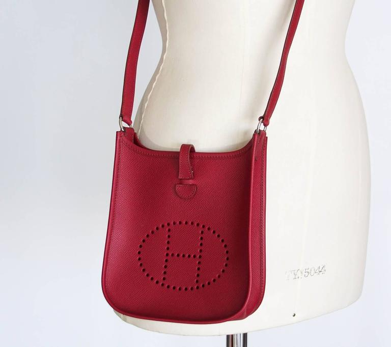Red Hermes Bag Evelyne TPM Mini Rouge Epsom Leather Vintage For Sale 7db159be9