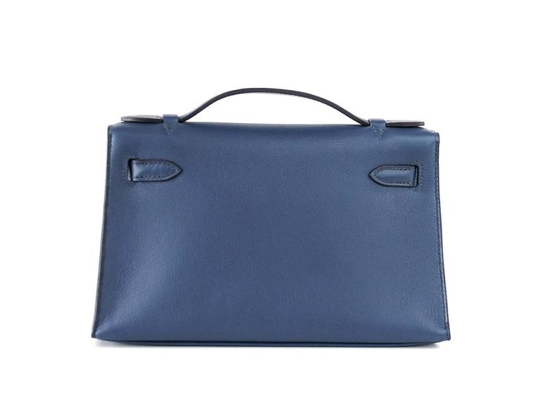 Purple HERMES Kelly Pochette Bag Clutch Bleu de Prusse Palladium Hardware Rare For Sale
