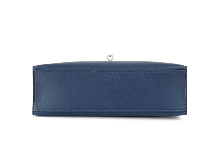 HERMES Kelly Pochette Bag Clutch Bleu de Prusse Palladium Hardware Rare In Excellent Condition For Sale In Miami, FL