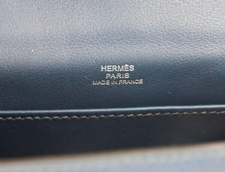 Women's HERMES Kelly Pochette Bag Clutch Bleu de Prusse Palladium Hardware Rare For Sale