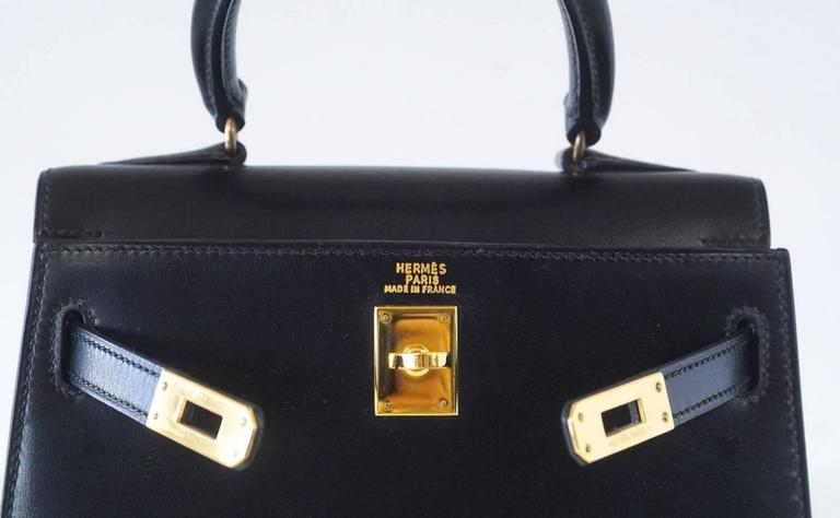 Hermes Kelly 20 Mini Vintage Kelly Sellier Box Leather Gold Hardware 3