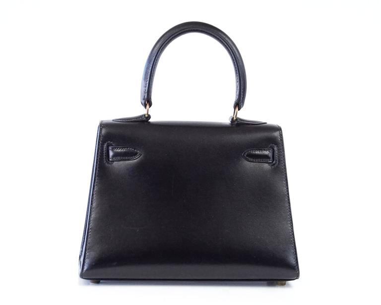 Black Hermes Kelly 20 Mini Vintage Kelly Sellier Box Leather Gold Hardware For Sale