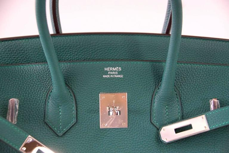 Guaranteed Authentic Hermes Birkin In Beautiful Emerald Toned Malachite Fabulous For Year Round Wear