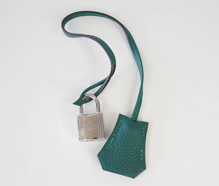 Hermes Birkin 35 Bag Malachite Green Togo Palladium  In New Condition For Sale In Miami, FL