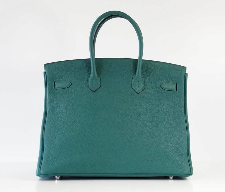 Women's Hermes Birkin 35 Bag Malachite Green Togo Palladium  For Sale