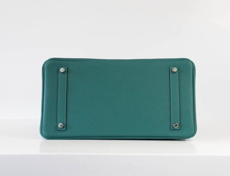 Hermes Birkin 35 Bag Malachite Green Togo Palladium  For Sale 1