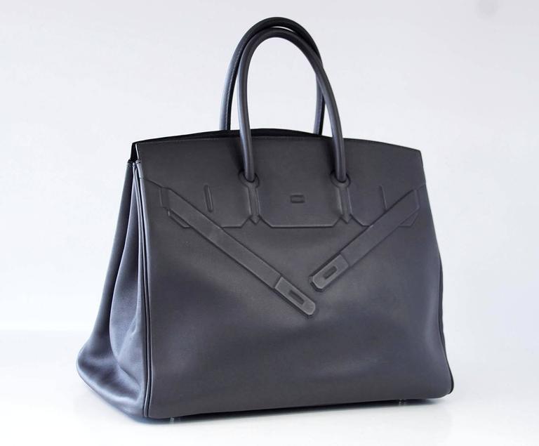 HERMES Shadow BIRKIN 35 Bag Ardoise Evercalf Leather Limited Edition VERY Rare 2